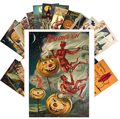 $ CDN9.13 • Buy Postcards Pack [24 Cards] Halloween Witch Pin Up Vintage Greeting Cards CF7014