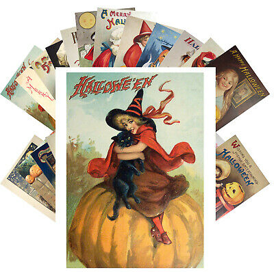 $ CDN9.13 • Buy Postcards Pack [24 Cards] Halloween Witch Pin Up Vintage Greeting Cards CF7013