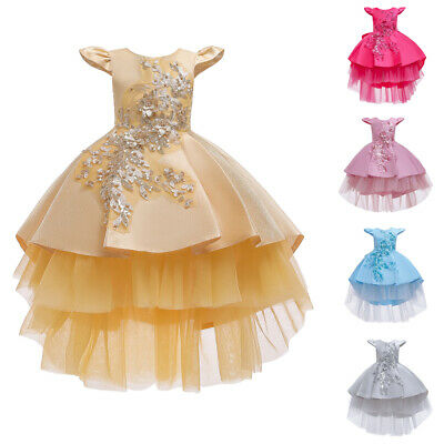 £15.86 • Buy Beautiful Kids Girls Bridesmaid Ball Gown Party Lace High Low Formal Prom Dress