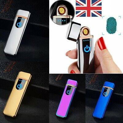 USB Rechargeable Electric Touch Sensor Metal Cigarette Lighter Charging Lighters • 8.87£