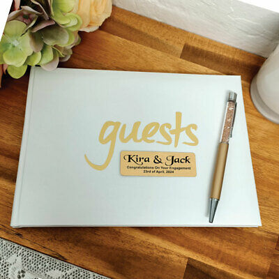 AU40 • Buy Personalised Engagement Guest Book White & Gold - Made To Order