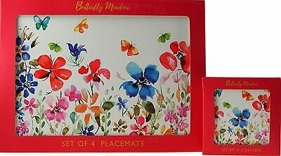 £12.99 • Buy 4 Of Each Butterfly Meadow Placemats & Coasters Set - Floral Table & Drink Mats