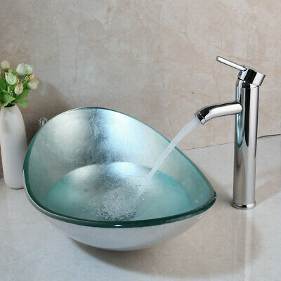 £135.09 • Buy Oval Tempered Glass Bathroom Vessel Sink Bowl Chrome Mixer Tap Faucet Set