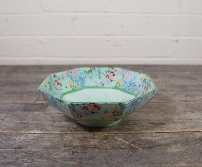Vintage Shelley Melody Chintz Floral Design Octagonal Bowl. • 34.99£