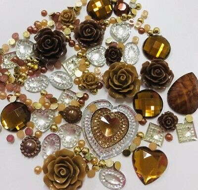 £3.19 • Buy 20g Chocolate Mix Pearls/Roses/Gem Flatback Cabochons Decoden Craft BROWNS