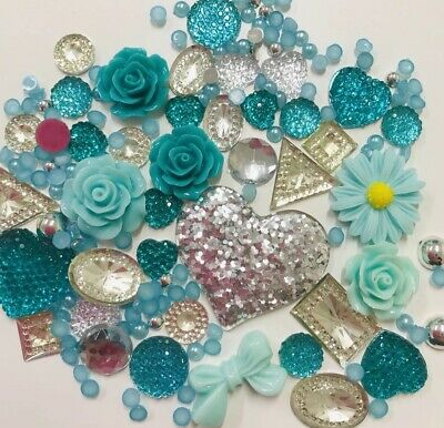 20g Teal/Mint+Silver Pearls/Roses/Gem Flatback Kawaii Cabochons Decoden Craft  • 2.99£