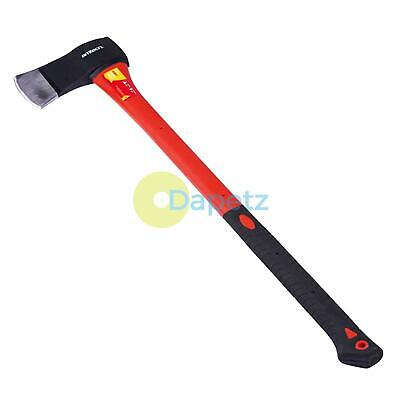 4lb WOOD LOG FELLING AXE WITH FIBREGLASS SHAFT AND NON-SLIP RUBBER GRIP HANDLE • 21.99£