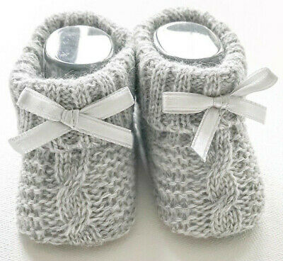 £3.25 • Buy Newborn Baby Booties Knitted Cable Bow Spanish Romany Grey Boys Girls Soft Touch