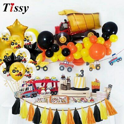 AU12.90 • Buy 1Set Construction Tractor Theme Inflatable Balloons Truck Vehicle Banners Cake