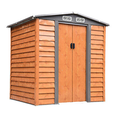 Outsunny 6x5FT Garden Shed Wood Effect Tool Storage House Sliding Door Woodgrain • 324.99£