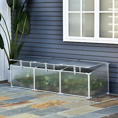 Outsunny  Aluminium Greenhouse Plants Raised Bed Vented Cold Frame Transparent • 53.99£