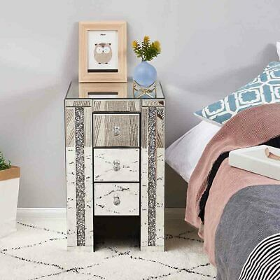 £119.99 • Buy Mirrored Crystal Diamond Side Glass 3 Drawers Bedside Cabinet Tables Furniture