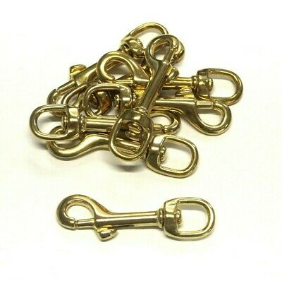 £3.50 • Buy 12mm Solid Brass Swivel Trigger Clip Hook Round Eye Heavy Duty For Dog Leads Etc