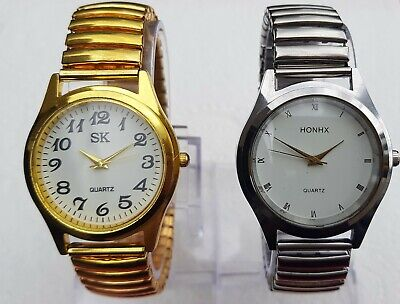 AU18 • Buy New Men's Stretch Band Watch Expandable Easy To Read + Free Extra Battery!