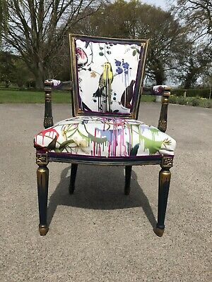 Vintage French Arm Chair Upholstered Designers Guild Christian Lacroix • 299£