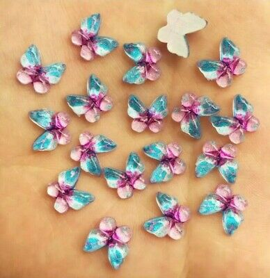 Butterfly Cabochons, Pink And Blue Set Of 20, Flat Back, Craft Embellishments • 2.75£