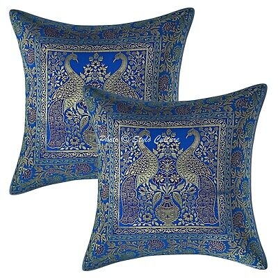 Indian Cushion Covers 16x16 Turquoise Brocade Peacock Set Of 2 Boho Pillowcases • 11.96£
