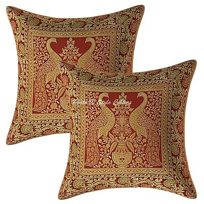 Bohemian Cushion Covers 40x40 Cm Maroon Brocade Peacock Set Of 2 Pillow Cases • 11.96£