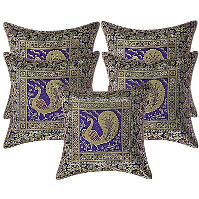 Indian Cushion Covers 40 X 40 Cm Purple Brocade Peacock Set Of 5 Scatter Cushion • 18.96£
