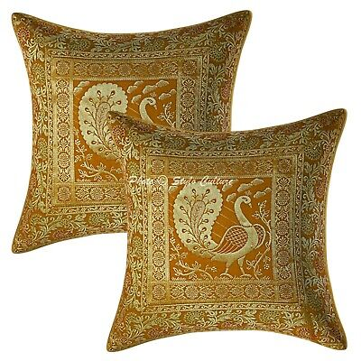 Indian Mustard Cushion Covers 40x40 Cm Brocade Peacock Set Of 2 Pillowcase • 11.96£
