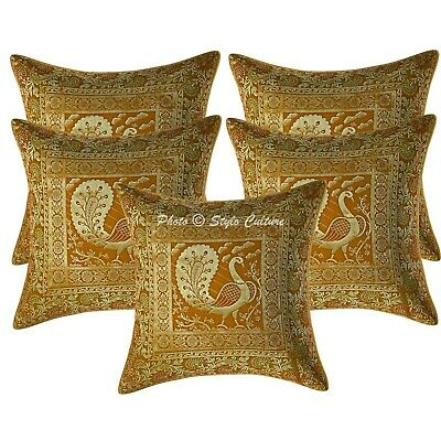 Ethnic Cushion Covers 16x16 Yellow Brocade Dancing Peacock Pillowcases Set Of 5 • 18.96£