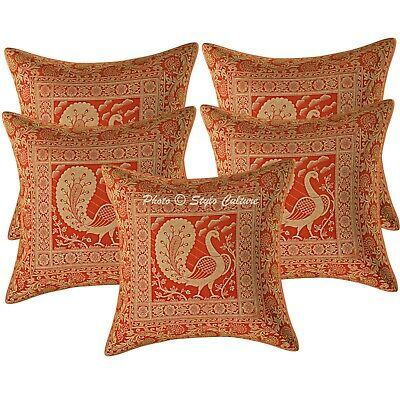 Traditional Cushion Covers 40 X 40 Cm Red Brocade Dancing Peacock Pillowcase • 18.96£
