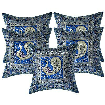 Indian Cushion Covers 16 X 16 Decorative Brocade Peacock Set Of 5 Pillowcases • 18.96£