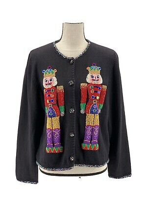 $64.99 • Buy Michael Simon Womens Christmas Cardigan Sweater Black Large Toy Soldiers Beaded