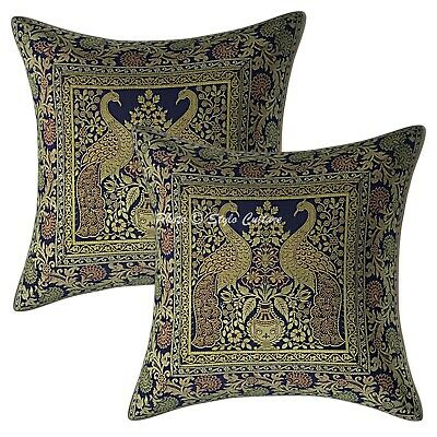 Indian Cushion Covers 16 X 16 Navy Blue Brocade Peacock Set Of 2 Pillow Cases • 11.96£