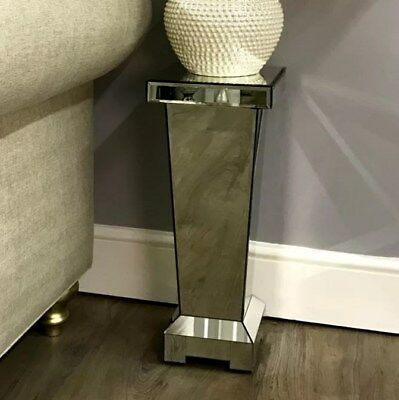 £159.90 • Buy Pedestal Side Table Venetian Mirrored Furniture Glass Lamp Stand Small Telephone