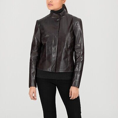 $495 • Buy Women's M0851 Brown Leather Fitted Jacket Size Small BRAND NEW WITH TAG