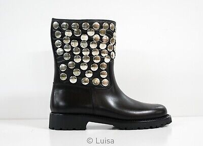 AU1240 • Buy New In Box Saint Laurent Black Leather Stud Ankle Boot Motorcycle 427280