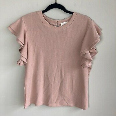 $ CDN39.15 • Buy Anthropologie Deletta Women's Size XL Blush Pink Ribbed Flutter Sleeve Top