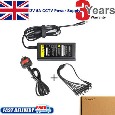 12V 5A Power Supply Adapter +8 Way Splitter Cable For DVR/CCTV Camera/LED Strip • 10.99£