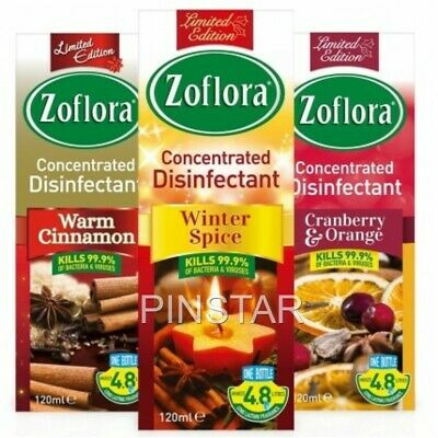 3 X 120ml ZOFLORA * WINTER ASSORTMENT* CONCENTRATED ANTIBACTERIAL DISINFECTANT • 7.99£