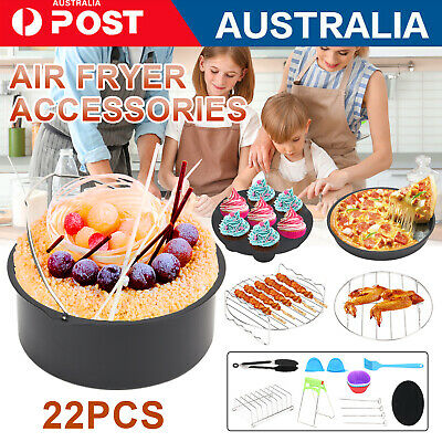 AU18.59 • Buy Air Fryer Accessories 8 Inch Frying Cage Dish Baking Pan Rack Pizza Tray Pot AU.