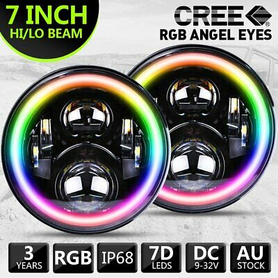 AU135.99 • Buy New RGB 7inch LED Headlights Projector Lens High Output DRL Halo Fits GQ PATROL