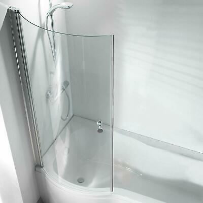 P Shape Curved Bathroom Pivot Glass Shower Bath Screen Hinged With Knob • 92.49£