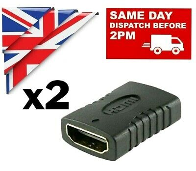 2x HDMI EXTENDER FEMALE TO FEMALE ADAPTER JOINER CONNECTOR For 1080P HDTV 4k  • 2.87£