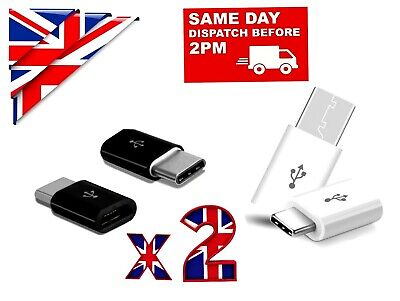 2 X TYPE C MALE TO MICRO USB FEMALE ADAPTER  CHARGER For SAMSUNG XIAOMI HUAWEI • 2.89£