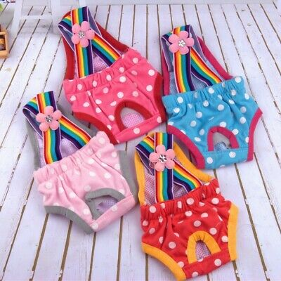 Female Pet Dog Puppy Physiological Pants Diaper Suspender Cute Sanitary Panty UK • 5.49£