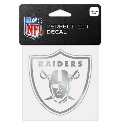 $6.99 • Buy Oakland Raiders Silver Metallic Chrome Perfect Cut Decal 4 X4  Nfl Licensed