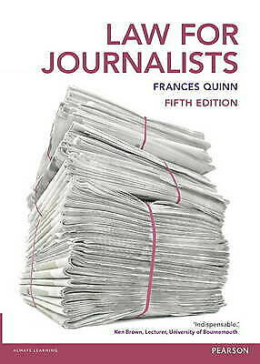 £6 • Buy Law For Journalists: Uk Edition By Quinn, Frances