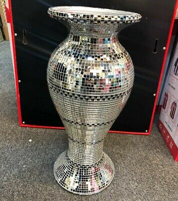 AMAZING ROMANY SILVER MIRRORED SPARKLE VASE, LOVELY SPECTACULAR 41cm Tall. • 29.99£