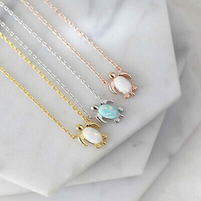 $0.99 • Buy Tiny Sea Turtle Opal Pendant Rose Gold Silver Animal Necklace Women Jewelry Gift
