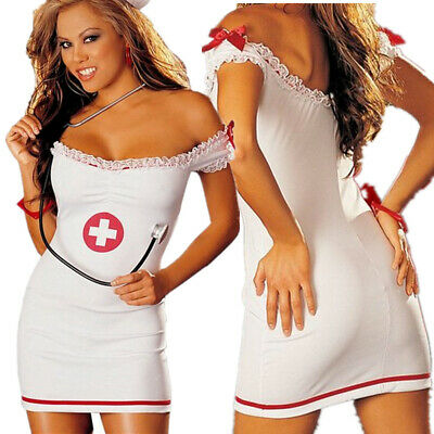 Sexy Naughty Nurse Costume Hen Do Fancy Dress Party Outfit New Women's Ladies UK • 7.99£