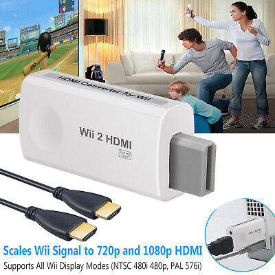 Wii Input To HDMI 1080p HD Audio Output Converter Adapter Cable Jack Audio 3.5mm • 6.55£