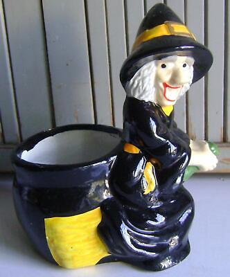 $ CDN21.14 • Buy Vintage~halloween Planter~ceramic~witch Riding On Broomstick