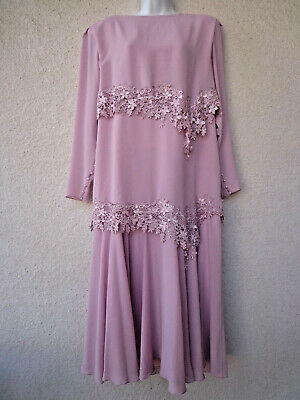 $68 • Buy Vintage 1920s Gatsby Style DRESS Dusty Rose Pink Lace Trim Flapper Layered LG