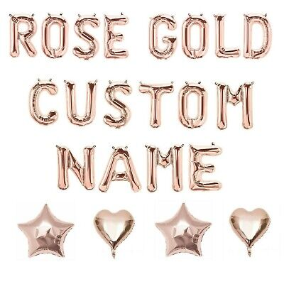 Rose Gold Letter Number Foil Balloons Personalised Custom Birthday Party Wedding • 1.19£